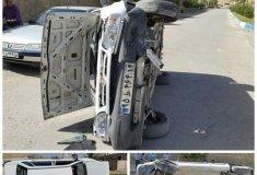 واژگونی خودرو,خبرلنده,مصدوم شدن راننده,تصادف,شهرلنده,بلوار شهید بهشتی,مرکز بهداشتی درمانی لنده,اخبار تصادفات